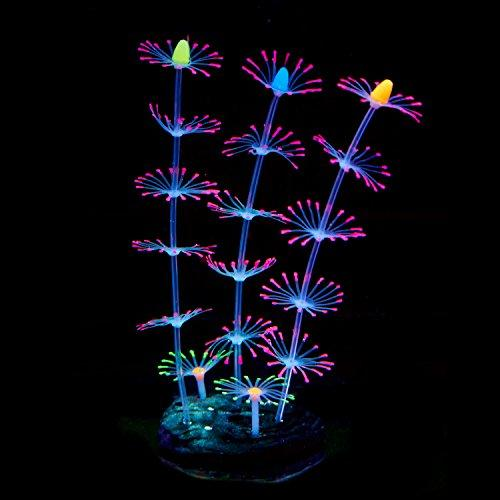 Uniclife Strip Coral Plant Ornament Glowing Effect Silicone Artificial Decoration for Fish Tank, Aquarium Landscape - Pink