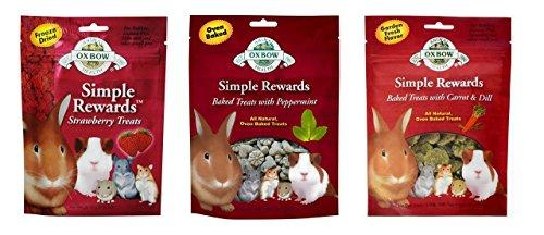 Simple Rewards Small Animal Treats 3 Flavor Variety Bundle (1) Each: Freeze Dried Strawberry, Baked Peppermint, Baked Carrot Dill, .5-2 Ounces