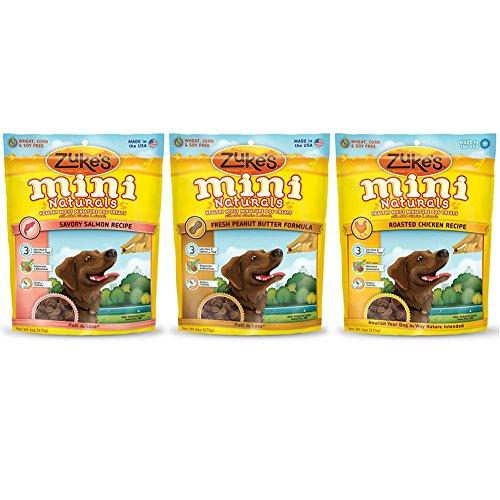 Zuke's Mini Naturals Healthy Moist Dog Treats Variety Pack - 6 Ounces - 3 Flavors - Chicken, Peanut Butter, and Salmon (3 Pack)