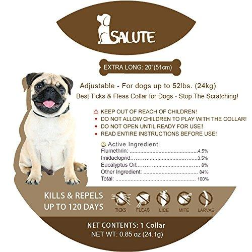 Salute Flea and Tick Collar for Dogs, Adjustable Fits Puppies and Medium Dog, 4 Month Protection, Water Resistant - 20