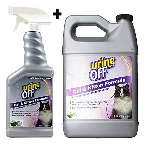 Urine Off Odor and Stain Remover for Cats -Combo Kit - 1 Gallon + 16.9oz Spay