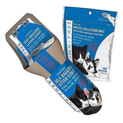 Scoop & Bag Self-Bagging Litter Scoop (with Samples of Odor Seal Cat Waste Litter Bags)