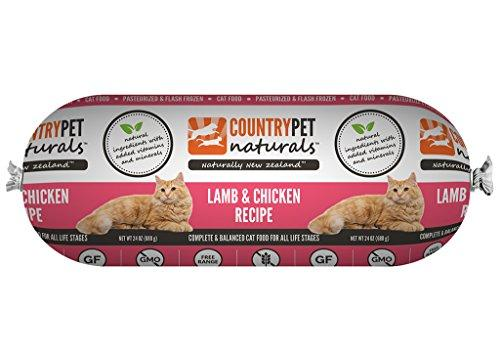 CountryPet Naturals Pasteurized Frozen Cat Food, Lamb and Chicken Recipe (24 lbs Total, 16 Rolls each 1.5 lbs) - Natural Ingredients with Added Vitamins & Minerals - Made in New Zealand