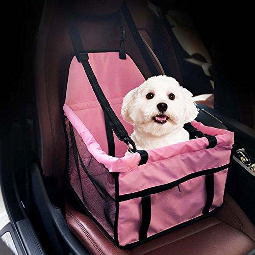 --Geekercity Deluxe Portable Pet Dogs Cats Car Booster Seat with Clip-On Safety Leash and Zipper Storage Pocket Collapsible Package Mesh Sided Travel Automotive Booster Seats (Pink)--