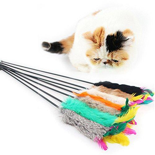 Zeroyoyo Cat Toys Feather Teaser Toy Cat Rabbit Hair Funny Pet Cat Play Feather Toys For Interactive Cat and Kitten Toy Wands