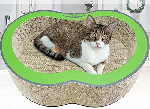 Zero Cat Scratcher Cardboard Toy Cat Bed Cat Scratch Board Cat Toy Multi-Effect One Use More Apple Design Cat Toy Cat Scratchboard With Free Catnip 420x340x150mm MT-175, green