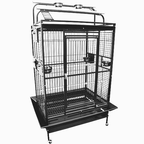 --KING'S CAGES 8004030 PARROT CAGE 40x30x72 Play Pen Bird Cages toy cockatoo macaw (BLACK/SILVER)--
