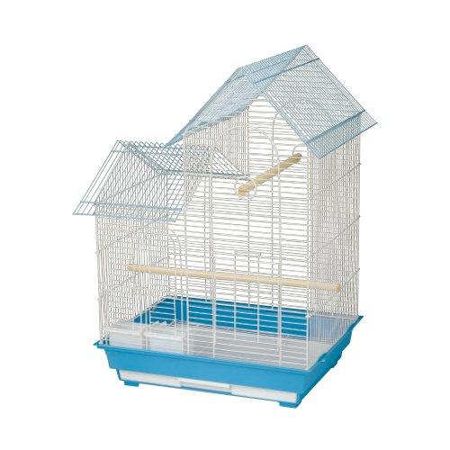 Kings Cages ES 2016 H house top bird cage toy toys Finches Lovebirds Canaries (BLUE/WHITE)
