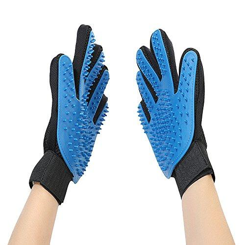 [A new generation] Pet Grooming Glove - Gentle Deshedding Brush Glove - Efficient Pet Hair Remover Mitt - Massage Tool with Enhanced Five Finger Design - Perfect for Dogs & Cats with Long & Short Fur