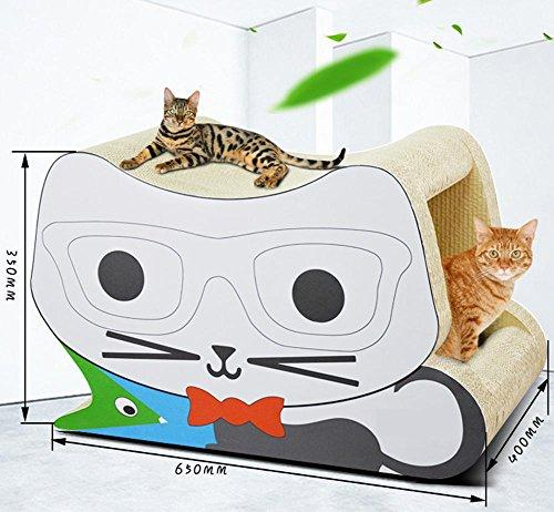 Zero Cat Scratcher Cardboard Toy Glasses Stereo Cat Scratches Cat House Bed Jumbo Cat Scratcher Lounge Interactive Cat Game 650x350x400mm MT-176