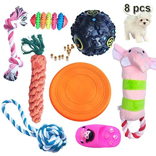 YCXJ Dog Chew Toys Set Treat Ball Flying Disk Ropes Plush Sound Pet Toys Dental Health IQ and Interactive(8 PaCK)