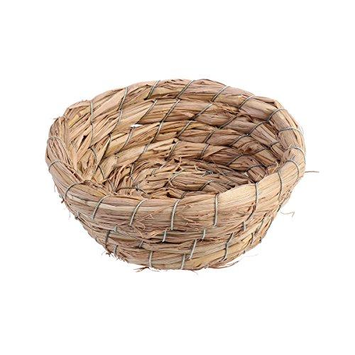 UEETEK Bird Nest Handmade Craft Straw Weave Artificial Bird Cage For House Home Decor Prop