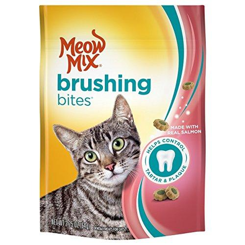 Meow Mix Brushing Bites Dental Cat Treats, Salmon Flavor, 2.25oz (Pack of 2)