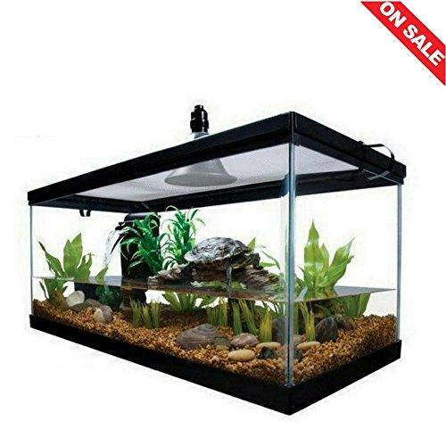 Reptile Habitat Setup Aquarium Tank Kit Filter Screen Lid Bask Lamp Turtle Frog & eBook by Easy2Find