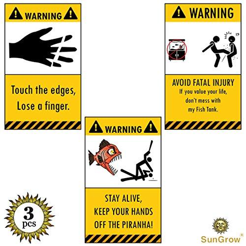 SunGrow 3 Aquarium Warning Stickers - Stick on Aquarium under 1-minute - Reflective, Humorous Vinyl, Waterproof Decals - Printed Decoration, Stay Away Labels - With Funny Graphics and Messages