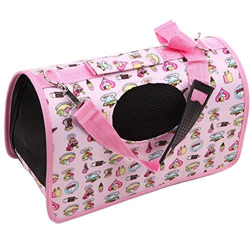 WinnerEco Travel Tote Shoulder Pet Puppy Dog Cat Crate Carrier House Kennel Cage Bag (Pink)
