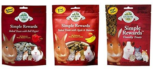 Simple Rewards Small Animal Treats 3 Flavor Variety Bundle (1) Each: Baked Apple Banana, Baked Bell Pepper, Timothy, 1.4-2 Ounces