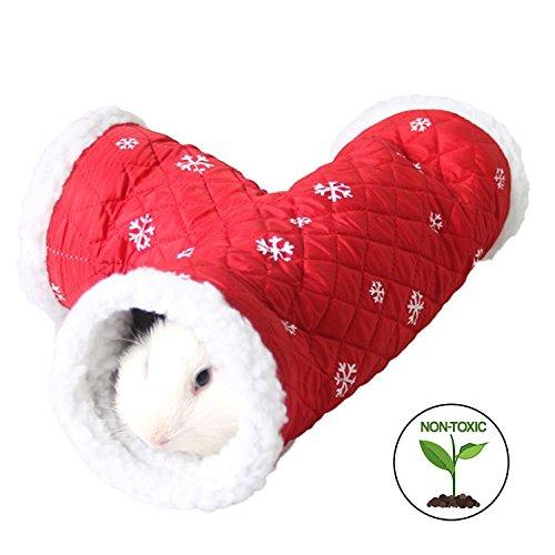 Small Animals Winter 3 Way Warm Bed Little Pet Soft Tube Toy for Hedgehog Kittens Squirrel Rabbits Chinchilla Red 13.3x4.7x4.7in