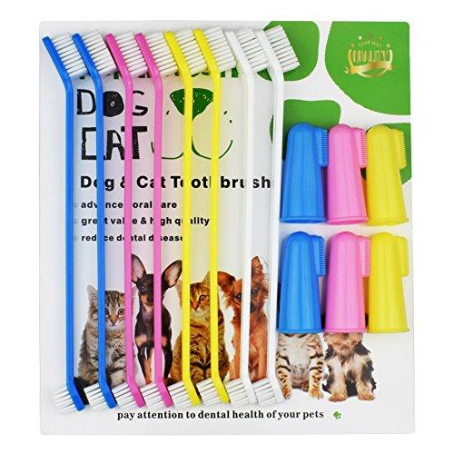 XiangLv Dog Toothbrush Cat & Dog Finger Toothbrush Soft Bristle Pet Toothbrush Combo Pack For The Dental Care of Your Small to Large Dogs, Cats, Most Pets (6 Finger +8 Head toothbrush)
