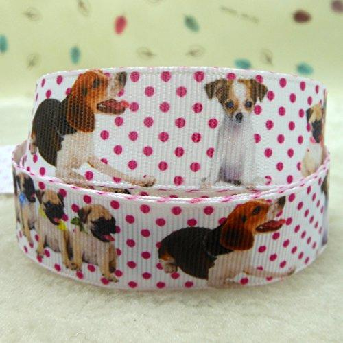 Midi Ribbon Dog Puppy Design Pattern Print Deco Grosgrain Ribbon-7/8