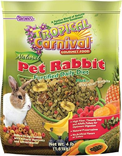 F.M. Brown's Tropical Carnival Natural Rabbit Food, Vitamin-Nutrient Fortified Daily Diet with High Fiber Timothy Hay and Alfalfa Pellets for Optimum Digestion, 4lb