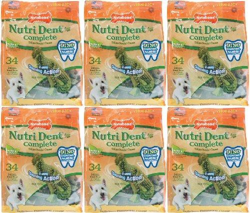 Nylabone Nutri Dent Complete T-Rex Edible Dental Chews Chicken, Small 204ct (6 x 34ct)