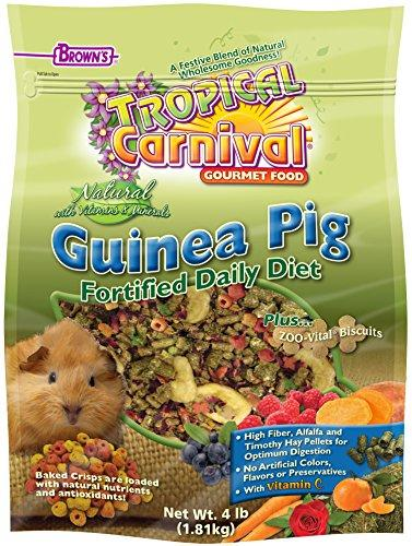 F.M. Brown's Tropical Carnival Natural Guinea Pig Food, Vitamin-Nutrient Fortified Daily Diet with Vitamin C and High Fiber Alfalfa and Timothy Hay Pellets for Optimum Digestion, 4lb