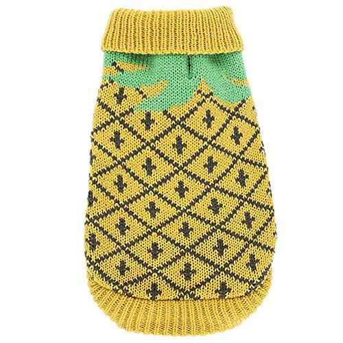 YZBear Pet Clothes Winter Warm Pineapple Sweater Dog Coat Clothing Small Puppy Costume Apparel