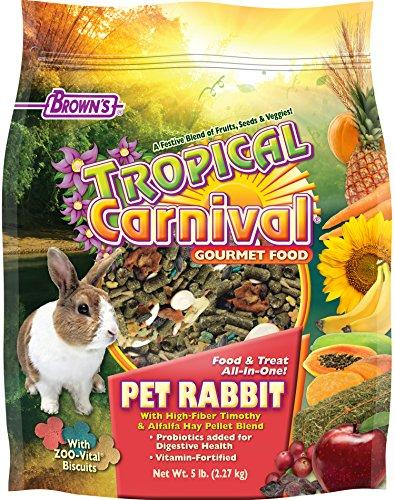 F.M. Brown's Tropical Carnival Gourmet Pet Rabbit Food with High-Fiber Timothy and Alfalfa Hay Pellets, Probiotics for Digestive Health, Vitamin-Nutrient Fortified Daily Diet, 5lb