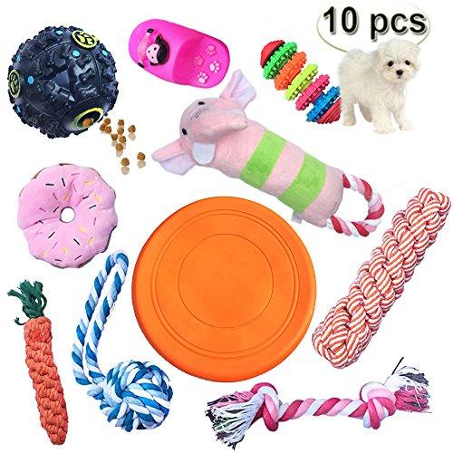 YCXJ Dog Chew Toys Set Treat Ball Flying Disk Ropes Plush Sound Pet Toys Dental Health IQ and Interactive(10 Pack)