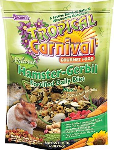 F.M. Brown's Tropical Carnival Natural Hamster-Gerbil Food, Vitamin-Nutrient Fortified Daily Diet, NO Filler Seeds, NO Artificial Colors or Flavors, 2lb