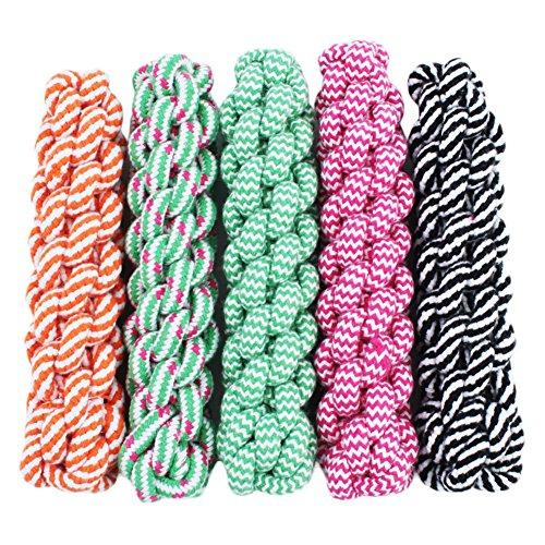 Zrong Puppy Dog Pet Toy Cotton Braided Bone Rope Knotted Chew Knot Play Toy Random Color