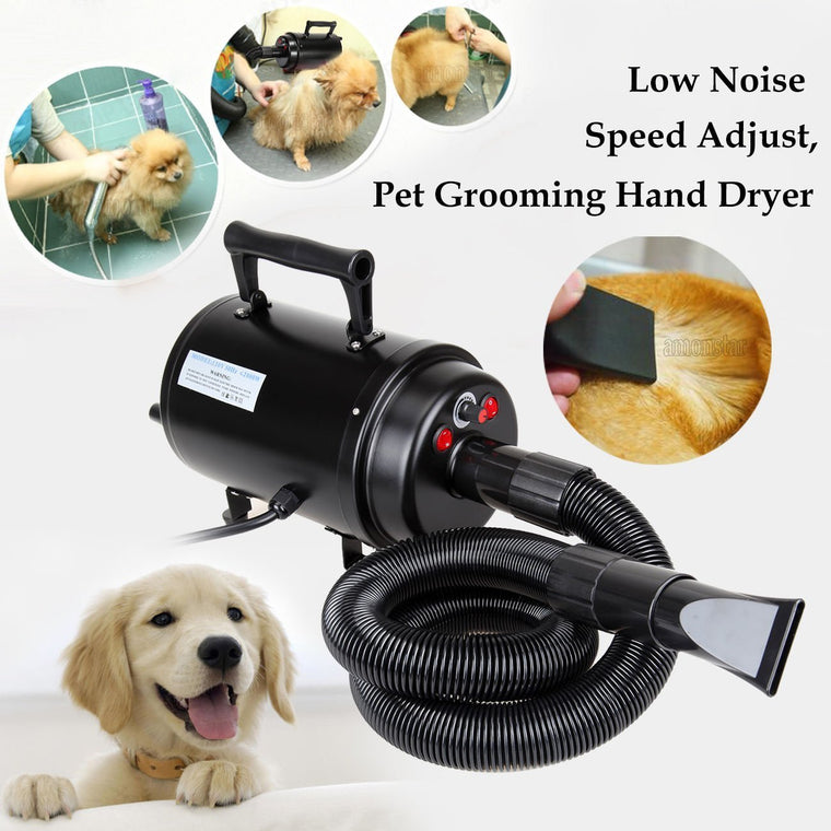Ridgeyard Portable 2800w Dog Cat Hair Blow Dryer Pet Grooming Home Bathing Draw Hairdryer w/ Heater for Cats Dogs High Speeds Adjustable Heat