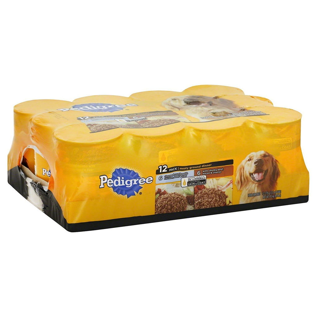 Pedigree 12-pack Meaty Ground Dinner: 6 Chopped Combo with Chicken, Beef, & Liver; 6 with Chunky Beef, Bacon & Cheese