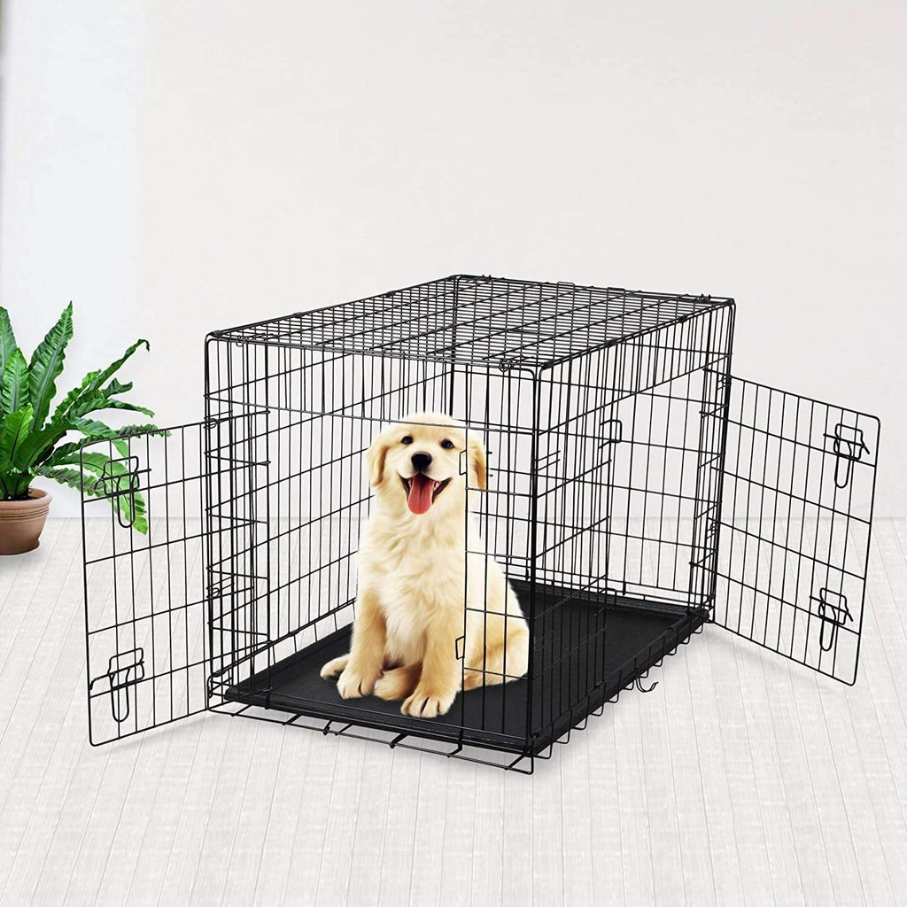 "36"" Double Door Folding Metal Dog Crate Pet Cage PCT02,,KeeboVet Veterinary Ultrasound Equipment,KeeboVet Veterinary Ultrasound Equipment."