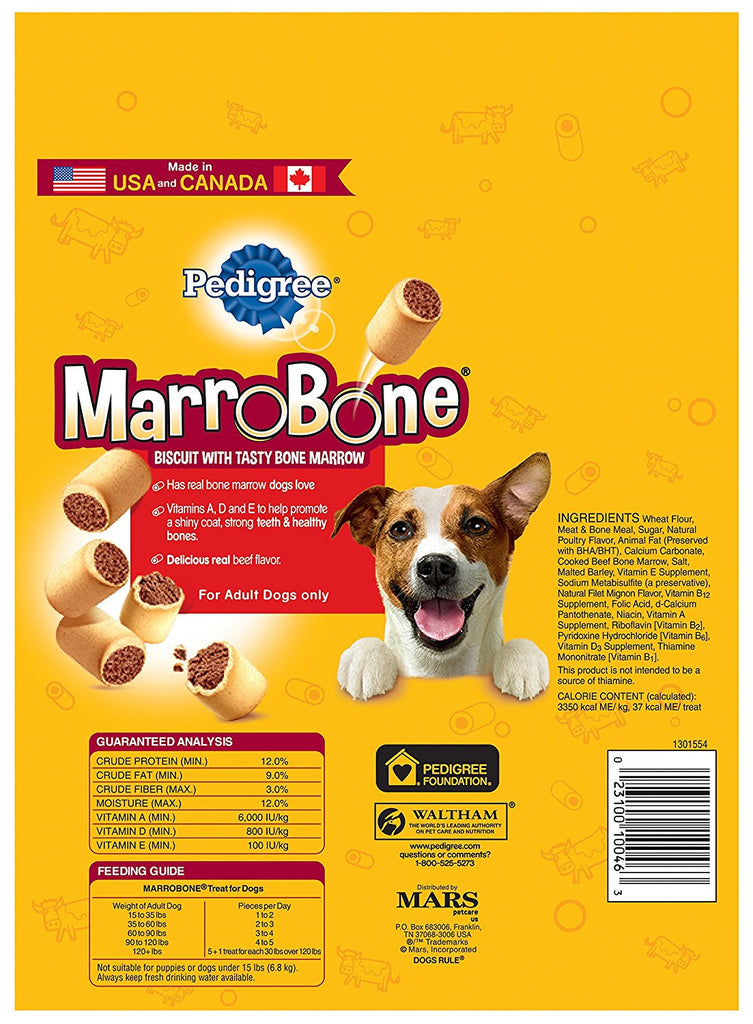 PEDIGREE MARROBONE Real Beef Flavor Snacks for Dogs 24 oz. (Pack of 8)