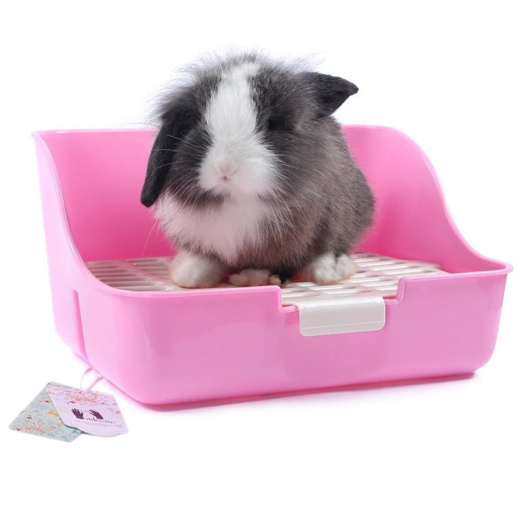 Mkono Square Potty Trainer Corner Litter Tray Bedding Box Pet Pan Toilet for Small Animal rabbit guinea Pig galesaur ferret