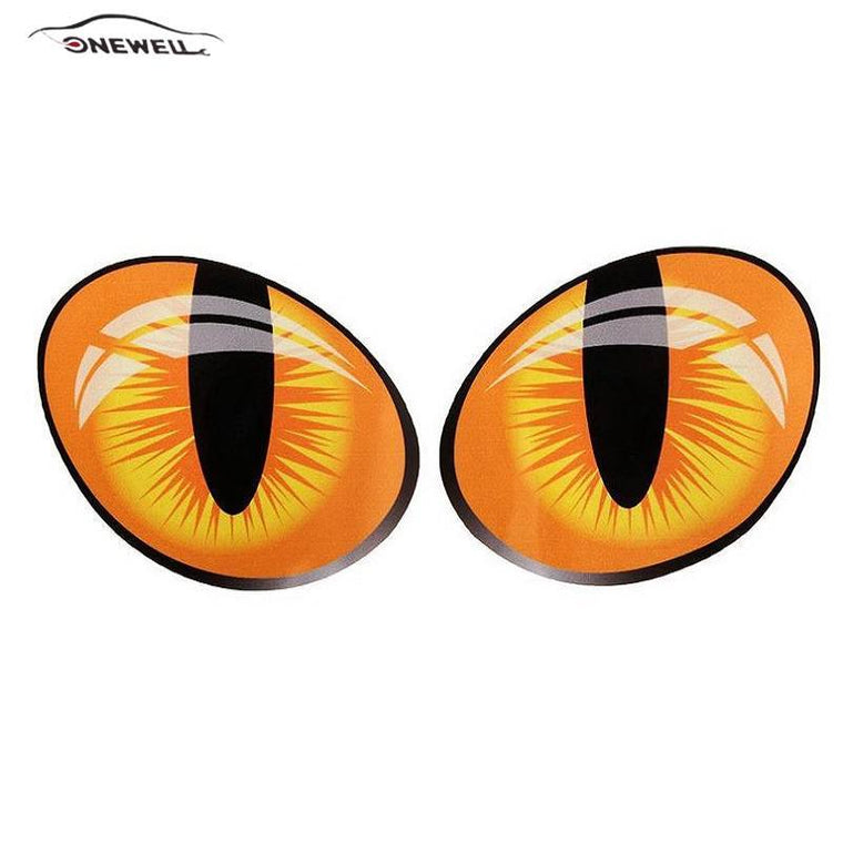 ONEWELL 1 Pair Cat Eyes Funny Car Stickers Reflective Truck Engine Head Rearview Mirror Door Cover Window Decal Graphics