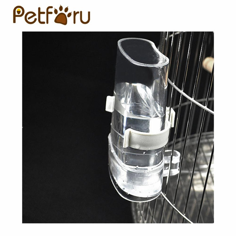 Petforu 200ML Bird Pet Automatic Waterer Feeder Device Clear Water Dispenser with Clip - Transparent + Clip Color Random