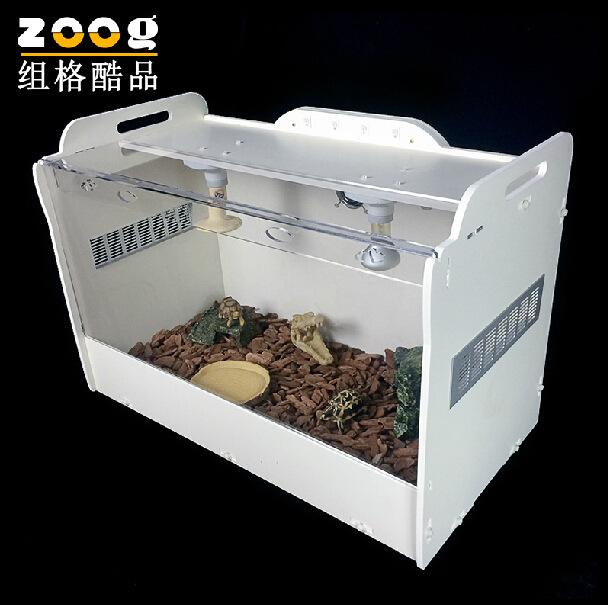 Zoog transparent acrylic crawler terrarium oversized tortoise lizard hedgehog cage with heating 80*42*54cm