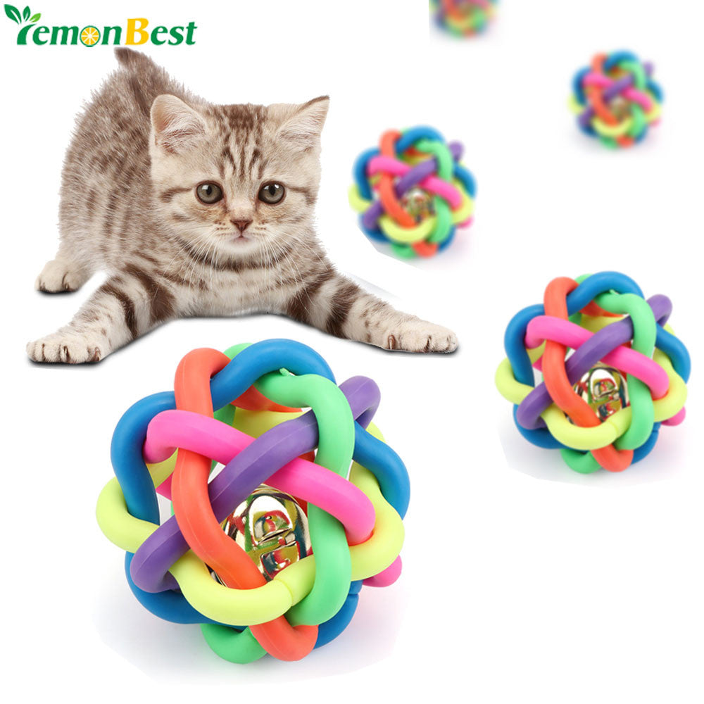1pc Colorful Pet Toys For Cat Dog 6cm Funny Rubber Pet Toy Ball With Small Bell Plastic Chew Balls Toy Dogs Training Play Toys