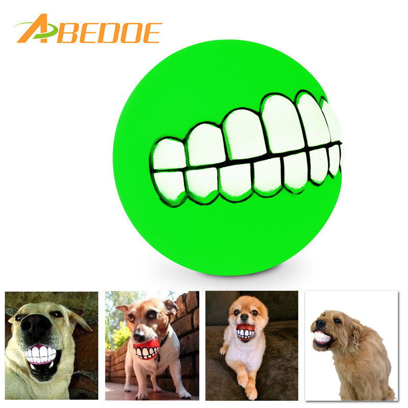 ABEDOE Pet Puppy Dog Funny Ball Teeth Silicon Toy Chew Sound Dogs Play Toys Supplies for Large Small Dogs
