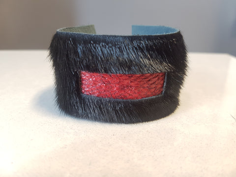 Black w/ Red Fish Leather