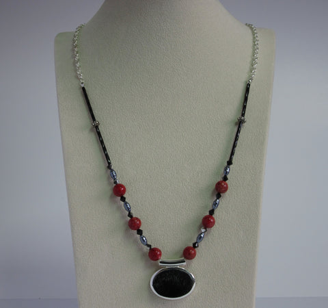 Black Pendent w/ Red Coral