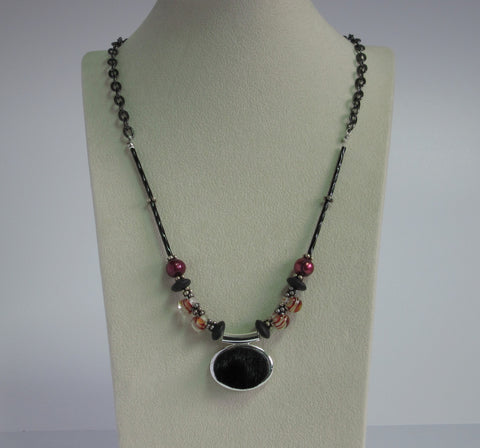 Black Pendent w/ Hand-blown Glass