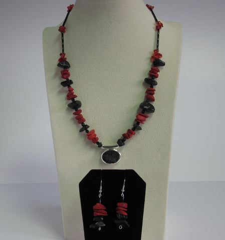 Black Pendent w/ Red Coral Set