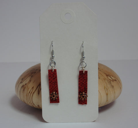 Red w/ Copper Earrings