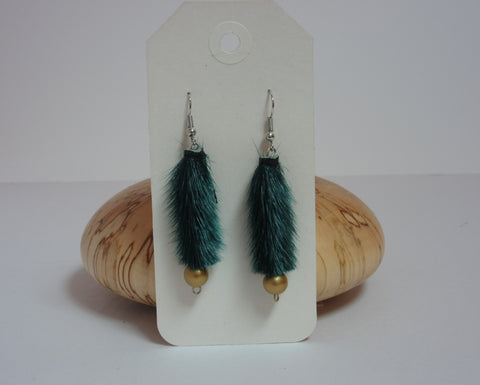 Green w/ Gold Pearl Earrings