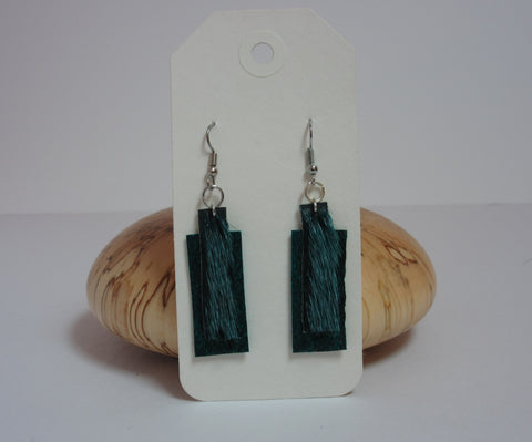 Green Rectangles Earrings