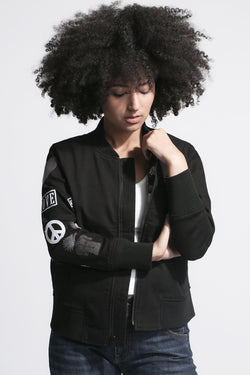 BOMBER JACKET with Embroidered Arm in Black